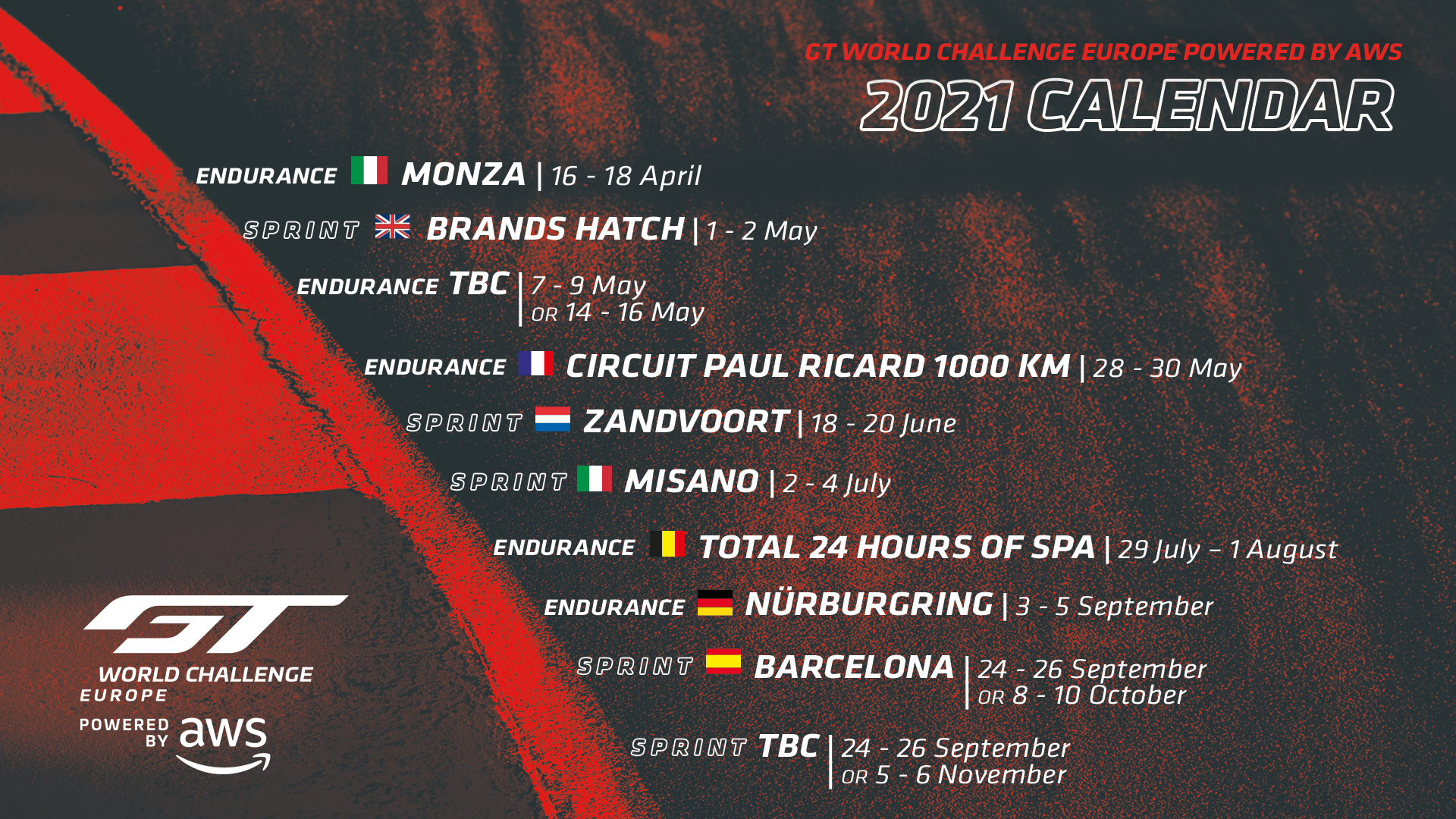 GT World Challenge Europe Powered by AWS confirms return to 10