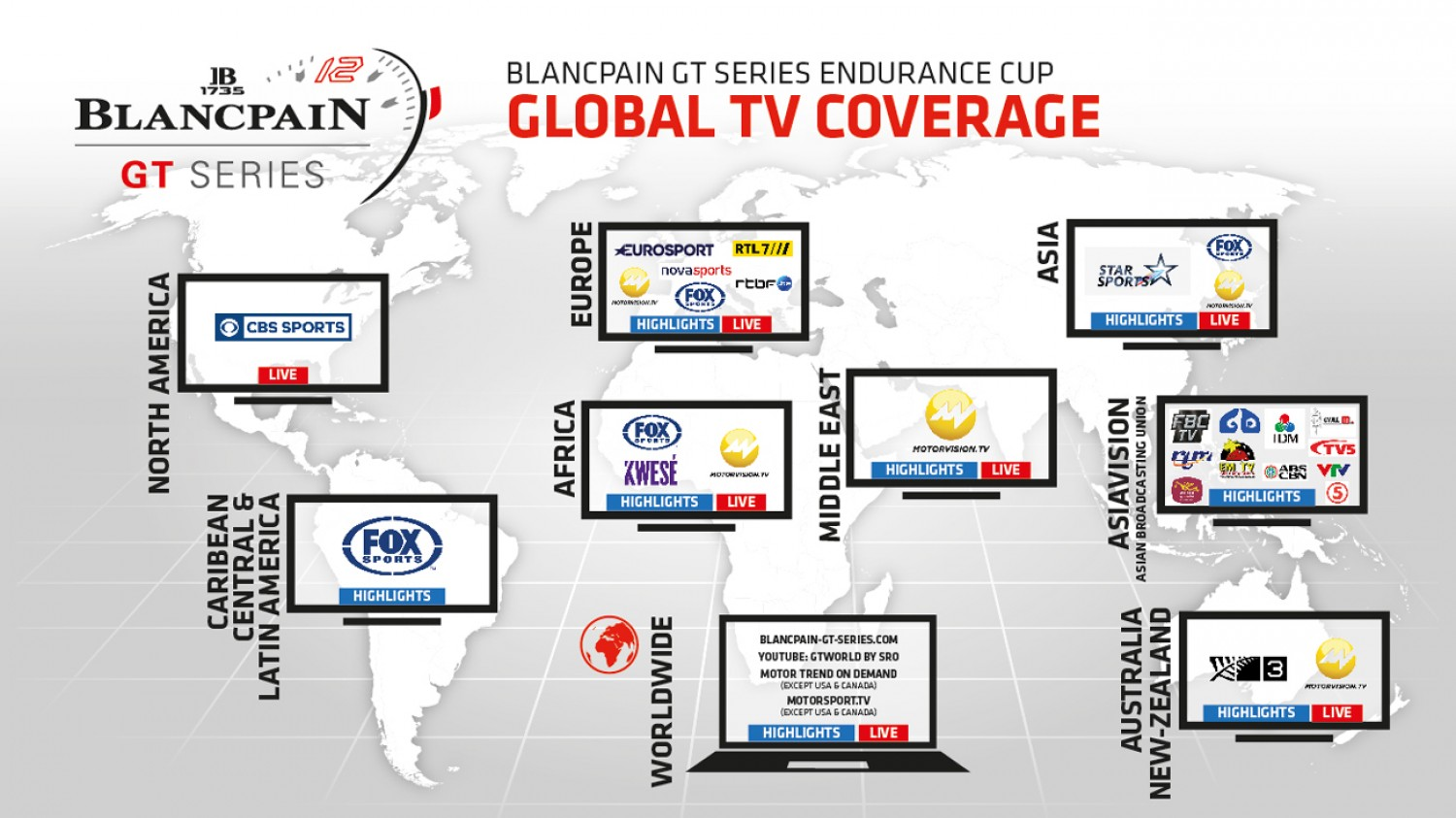 Extensive television and online coverage confirmed for 2019 Blancpain GT Series Endurance Cup
