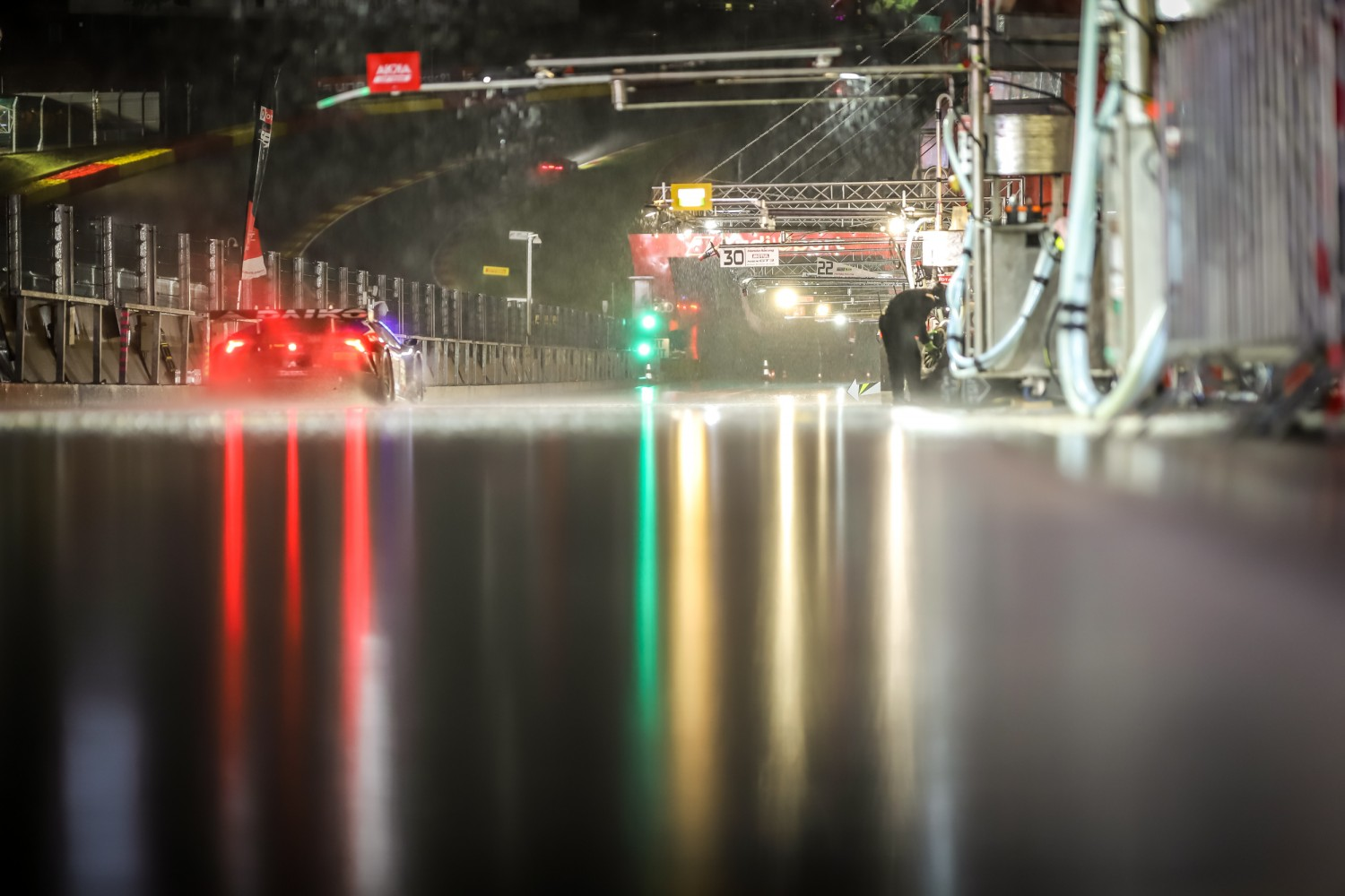 Total 24 Hours of Spa remains under red flag conditions at 08.00 as heavy rain continues