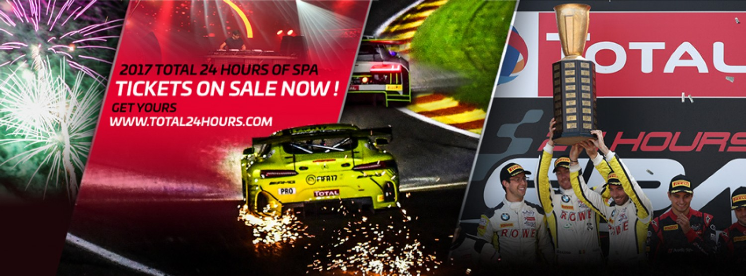 Ticket sales for the 2017 Total 24 Hours of Spa start this week