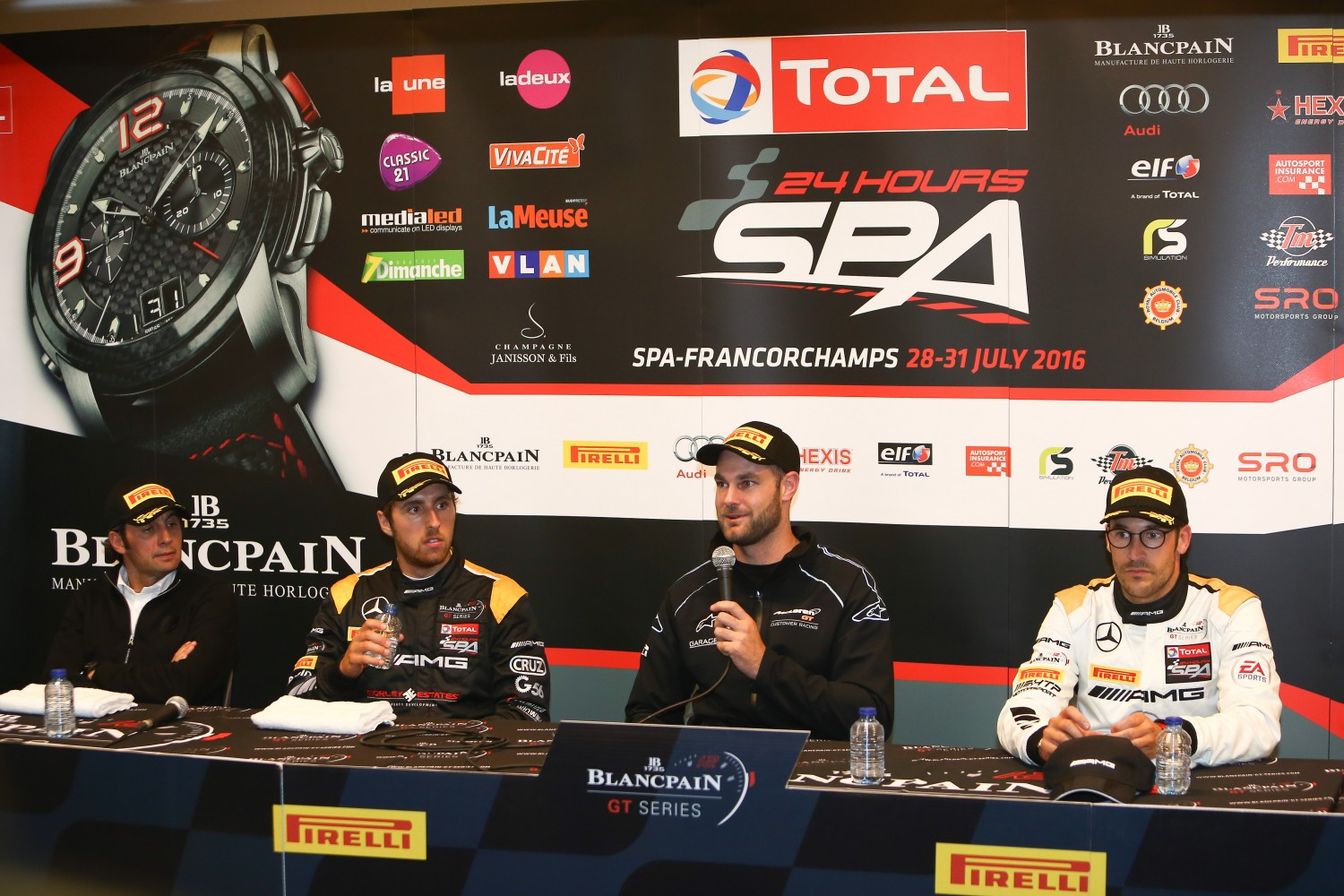 POST PRE QUALIFICATION PRESS CONFERENCE #58 GARAGE 59 (GBR) MCLAREN 650S GT3 SHANE VAN GISBERGEN (NZL) WITH MAXIMILAN GOTZ (DEU) MIGUEL TORIL (SPA) AND NICOLA CADEI (ITA) | OLIVIER BEROUD / VISION SPORT AGENCY