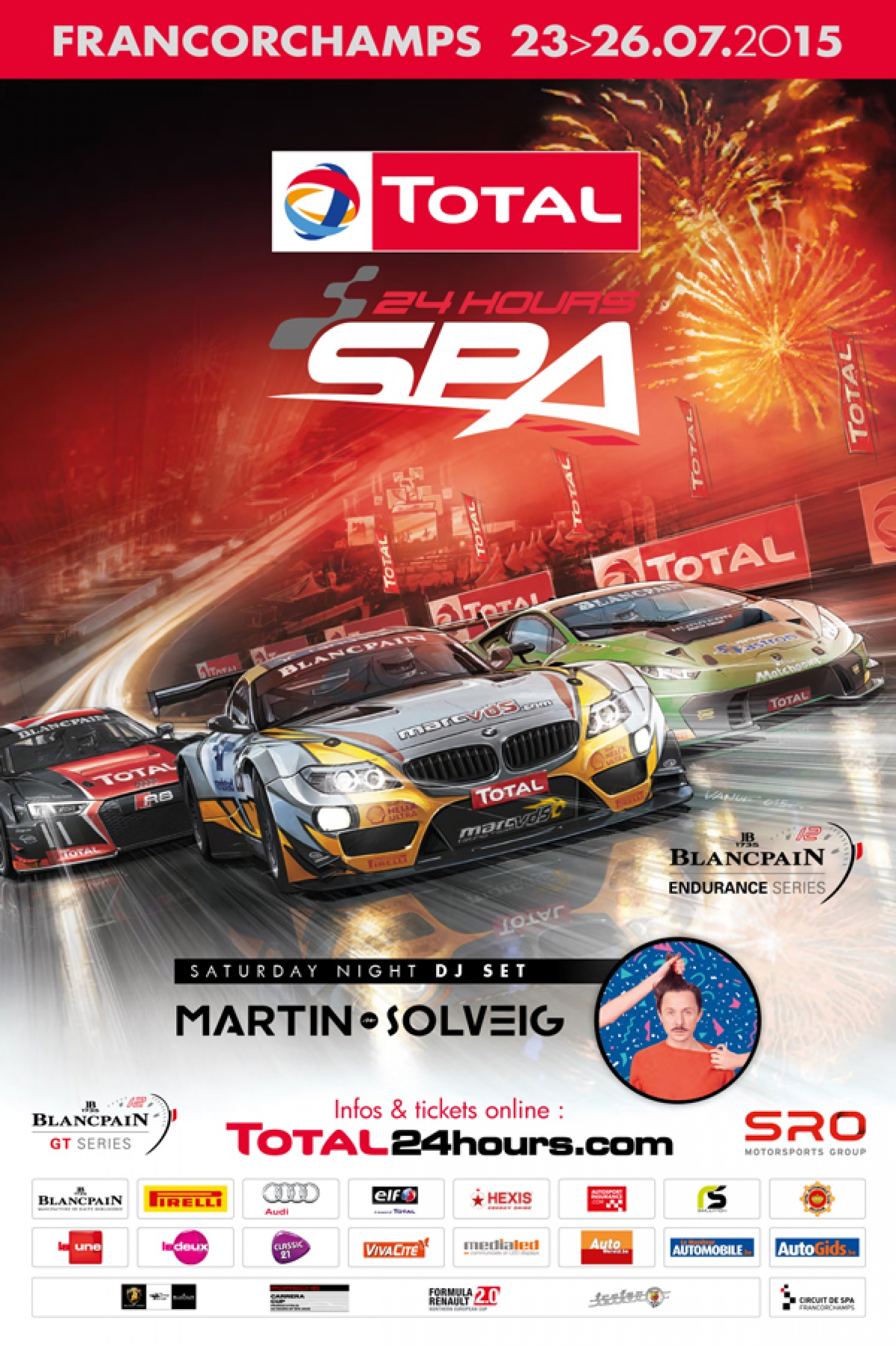 Total 24 Hours of Spa poster revealed - Martin Solveig stars on the Total 24 Hours of Spa stage