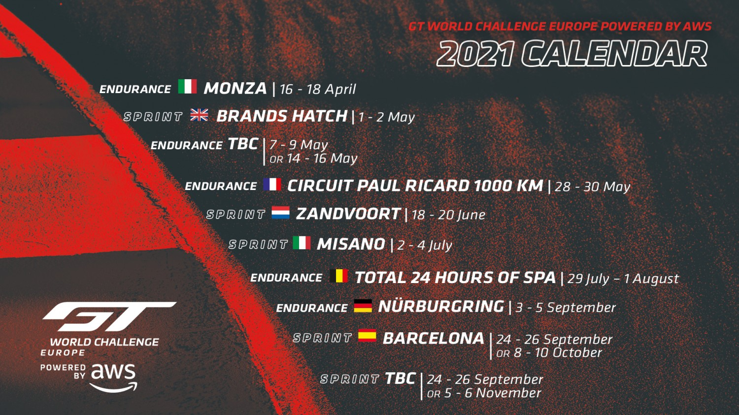 GT World Challenge Europe Powered by AWS confirms return to 10-round championship in 2021