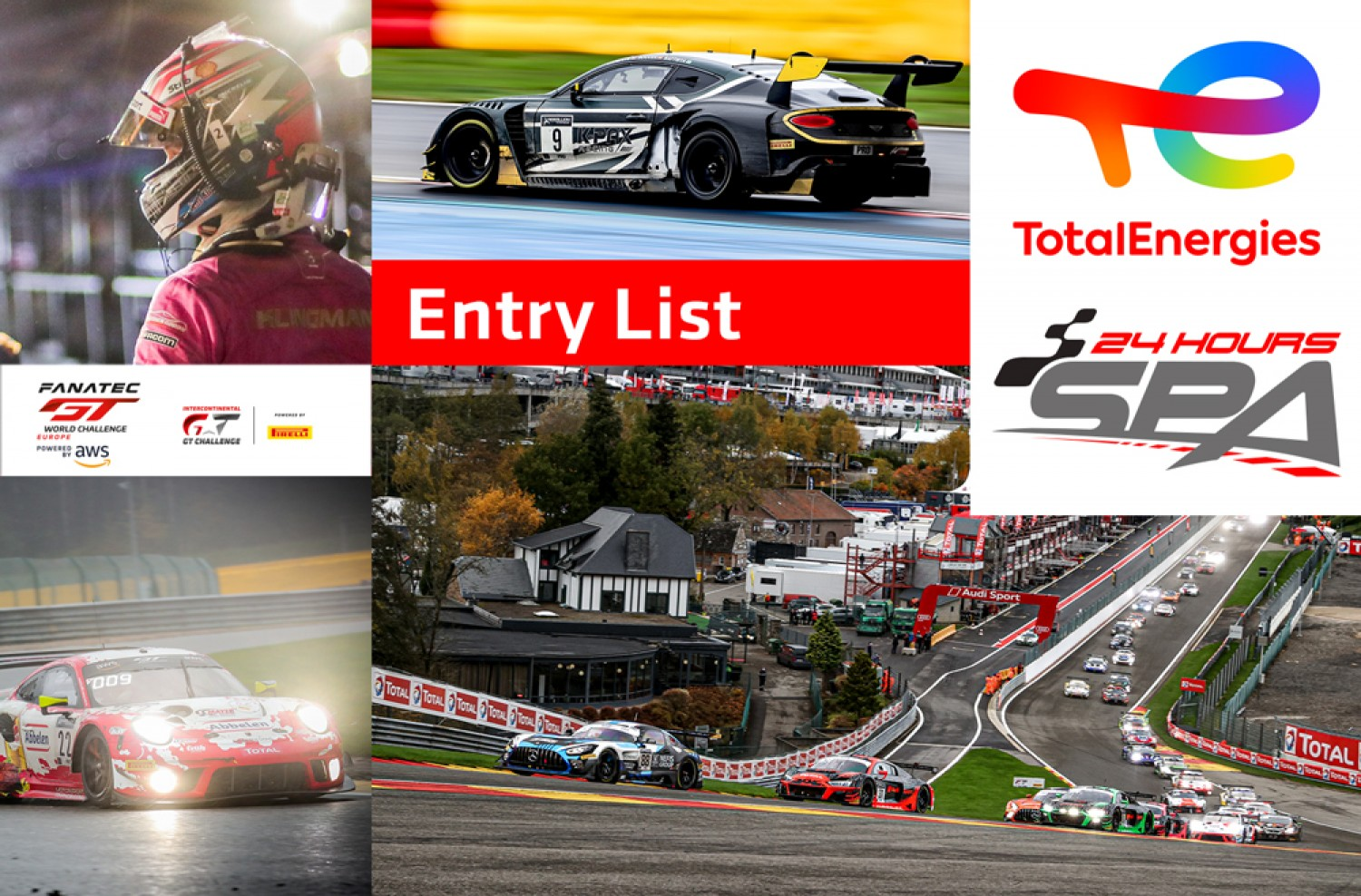 TotalEnergies 24 Hours of Spa reveals high-calibre 60-car entry list for 2021 edition