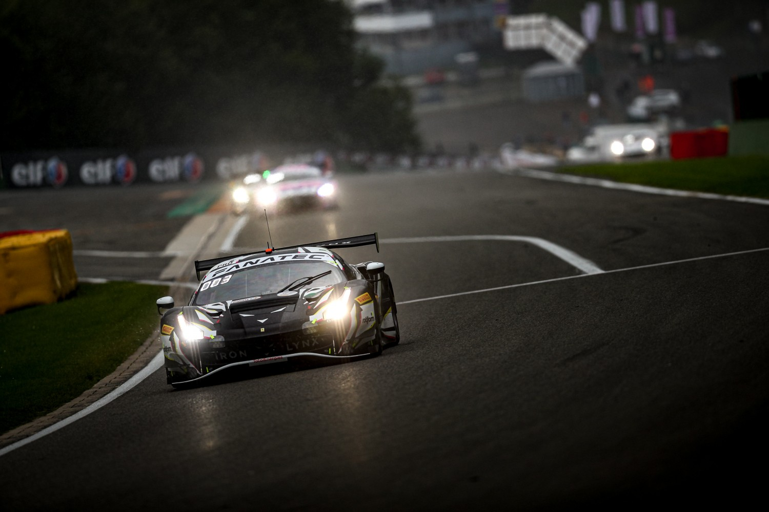 Iron Lynx Ferrari leads TotalEnergies 24 Hours of Spa at one-quarter distance as darkness falls over the Ardennes
