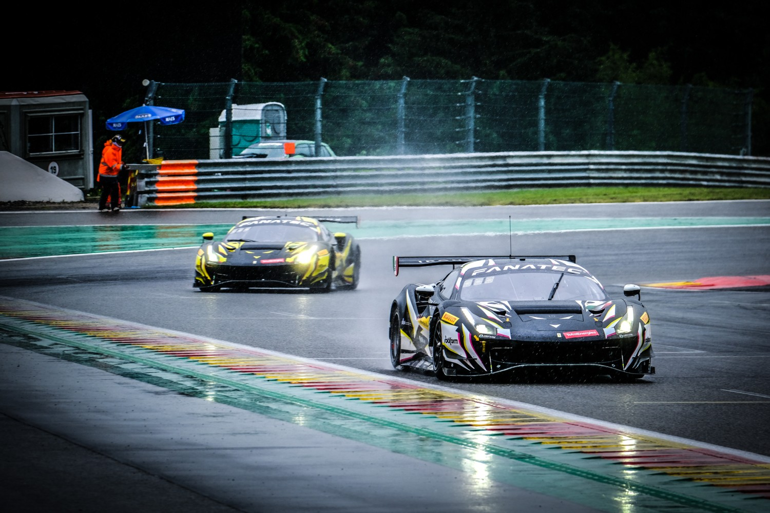 Iron Lynx Ferrari tops rain-hit morning session as test days get underway at Spa-Francorchamps