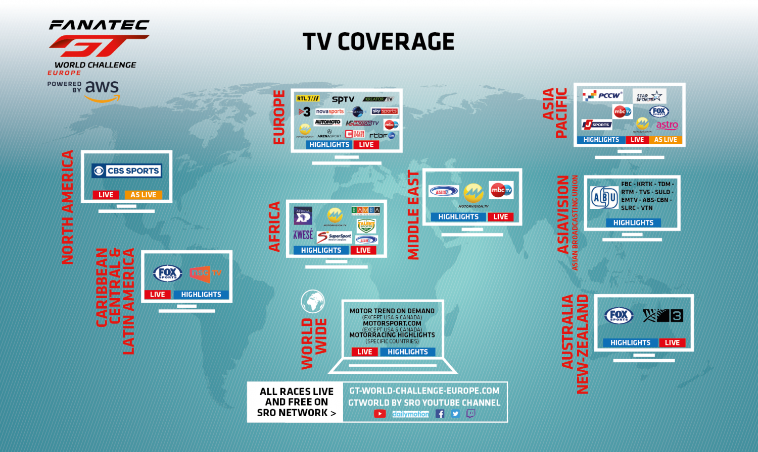 Extensive television and online coverage confirmed for 2021 Fanatec GT World Challenge Europe Powered by AWS season