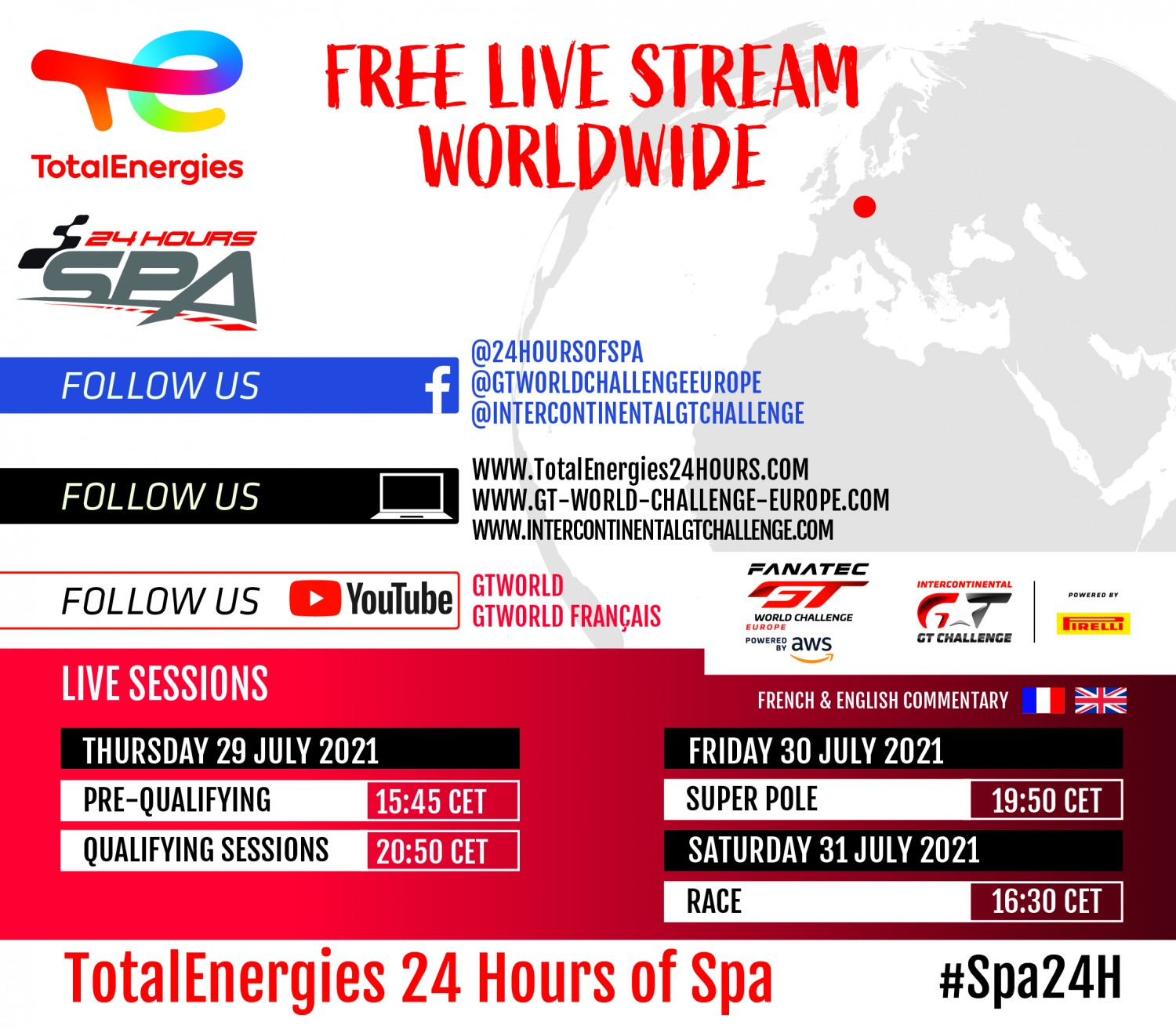 How to follow the 2021 TotalEnergies 24 Hours of Spa