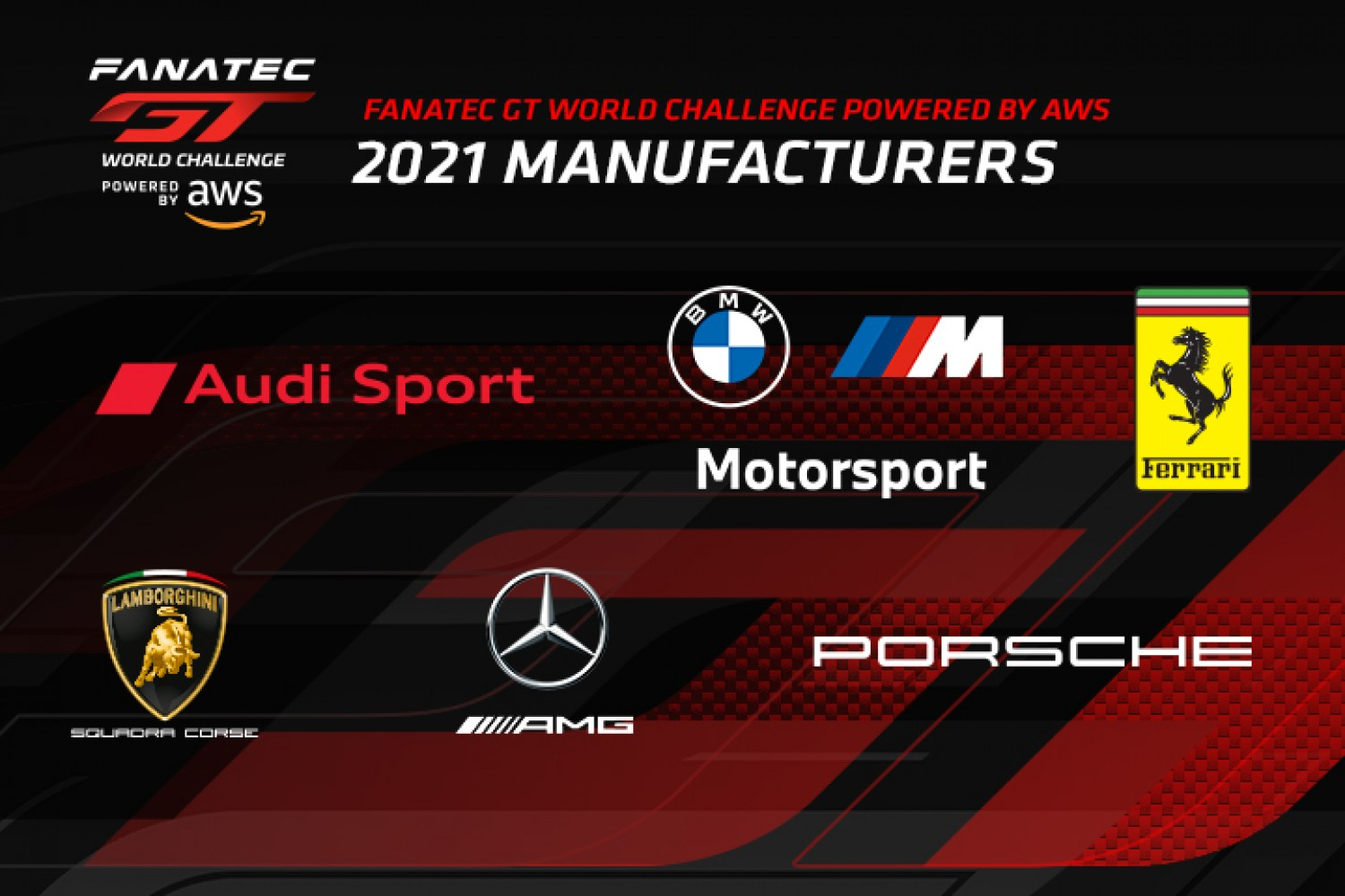 Expanded field of six manufacturers to contest global Fanatec GT World Challenge Powered by AWS in 2021