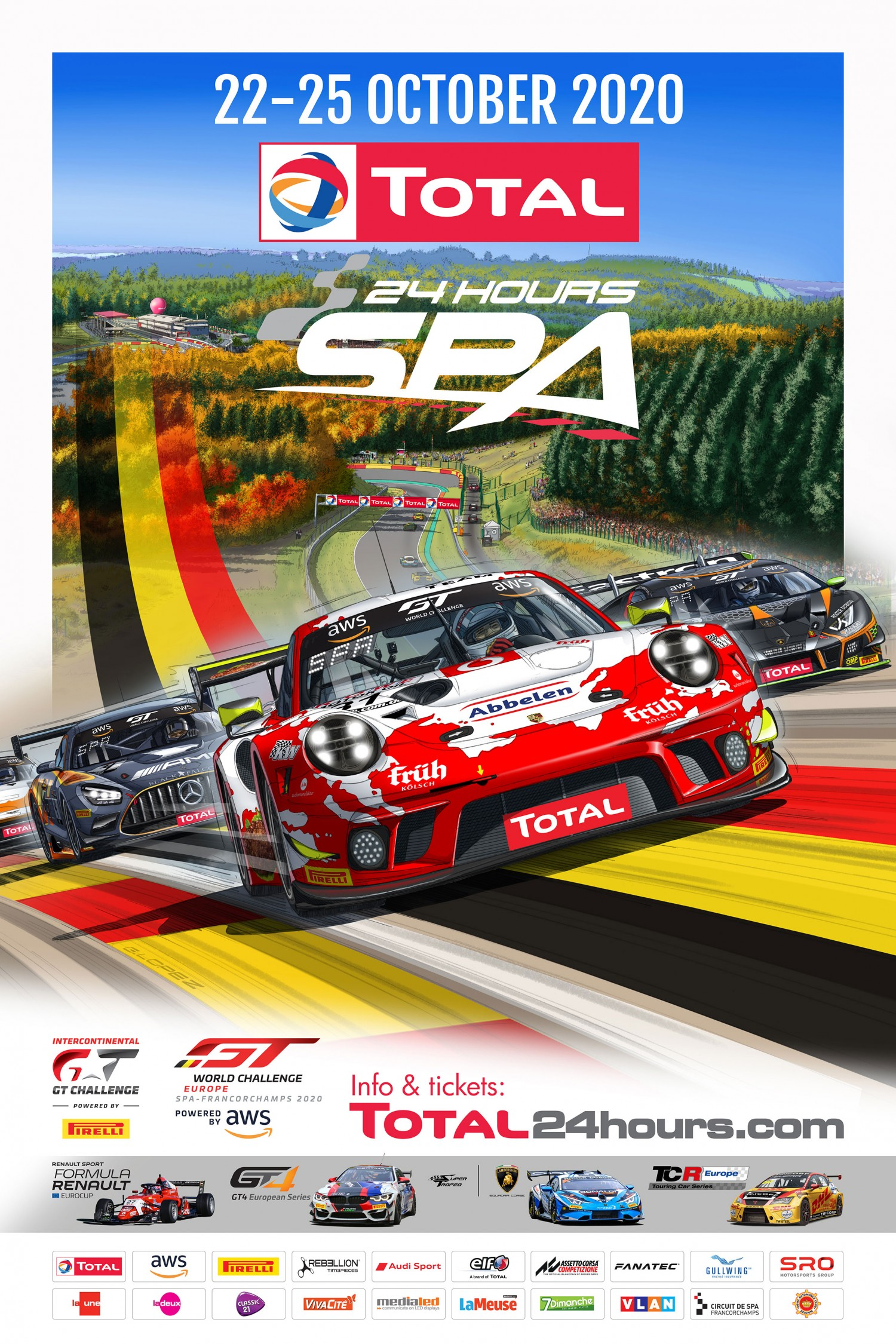 Official race poster adds vibrant autumn colours to Total 24 Hours of Spa build-up