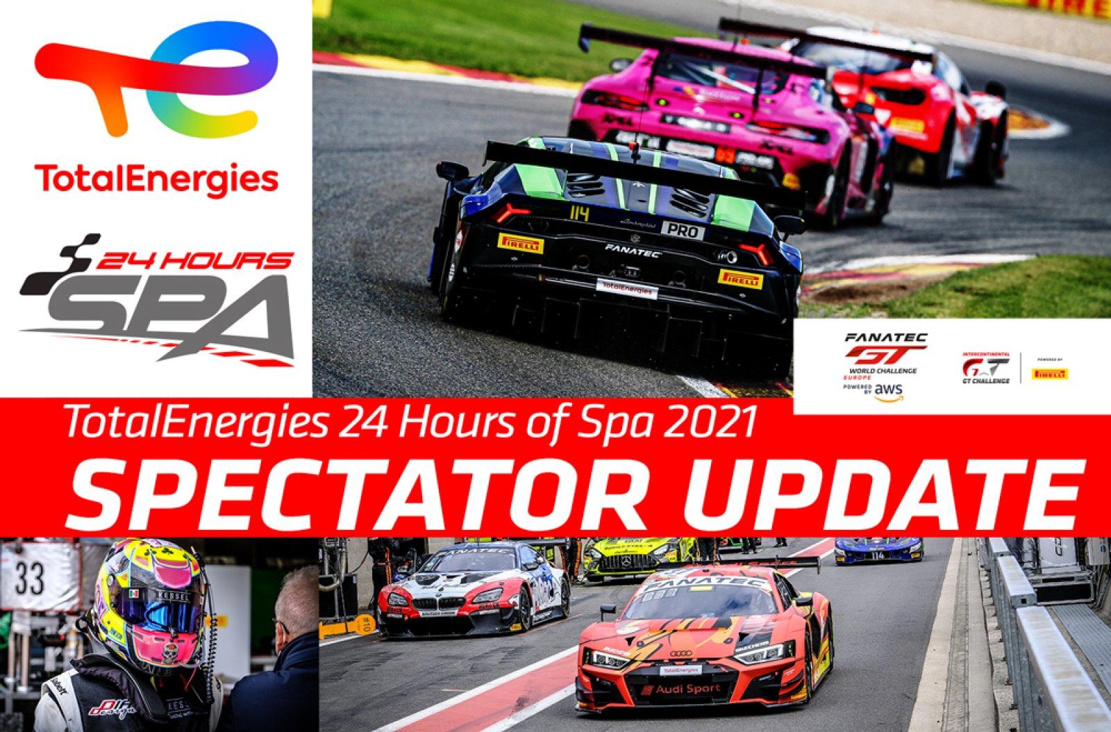2021 TotalEnergies 24 Hours of Spa spectator update
