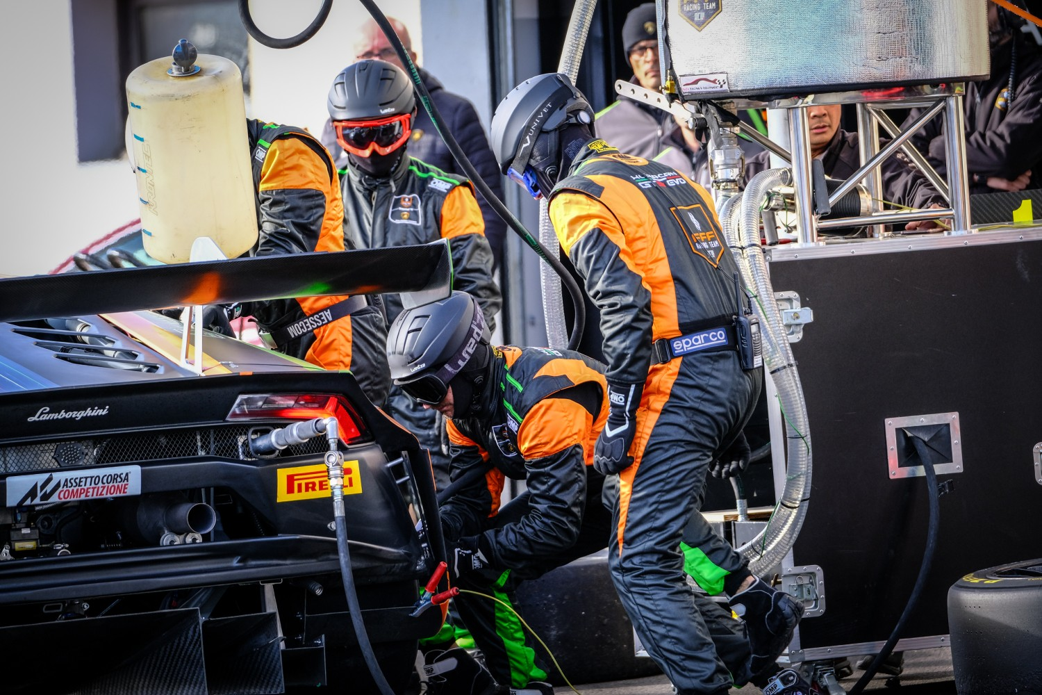 #555 Orange 1 FFF Racing Team CHN Lamborghini Huracan GT3, Pitlane
