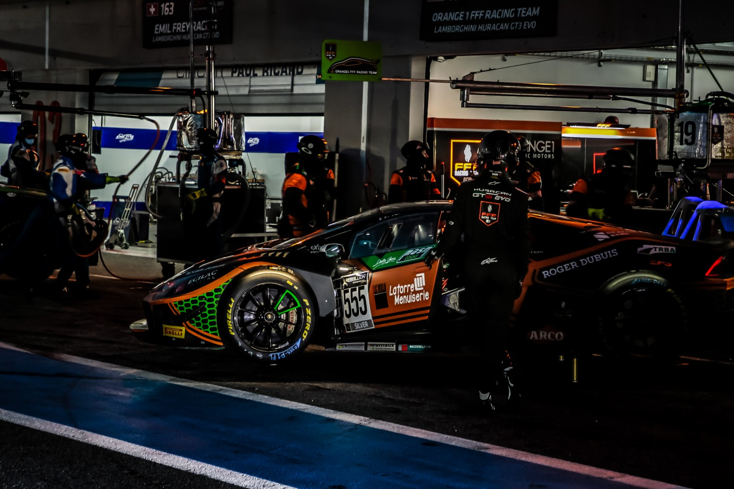 #555 Orange 1 FFF Racing Team CHN Lamborghini Huracan GT3 Evo Silver Cup Baptiste Moulin BEL Taylor Proto GBR Florian Latorre FRA, Pitlane, Qualifying  | SRO / Patrick Hecq Photography