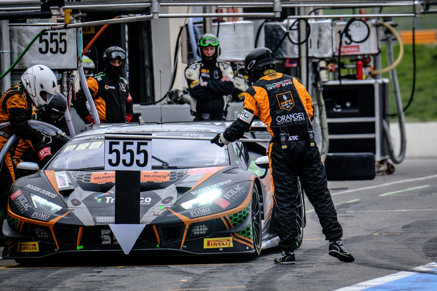 #555 Orange 1 FFF Racing Team CHN Lamborghini Huracan GT3 Evo Silver Cup Baptiste Moulin BEL Taylor Proto GBR Florian Latorre FRA, Pitlane, Race  | SRO / Dirk Bogaerts Photography