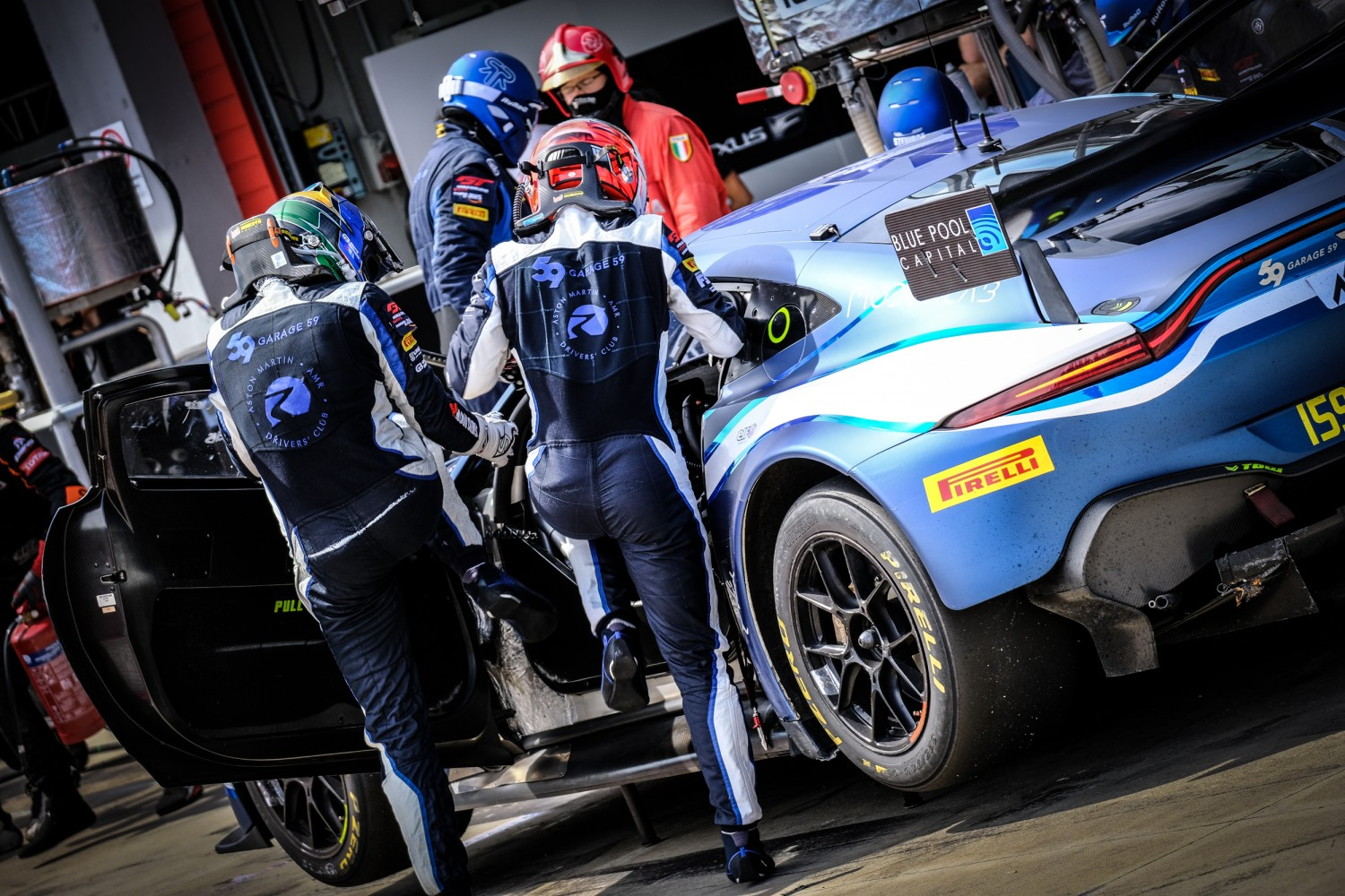 #159 Garage 59 GBR Aston Martin Vantage AMR GT3 Silver Cup Valentin Hasse Clot FRA - - Andrew Watson GBR, Pitlane, Race  | SRO / Dirk Bogaerts Photography