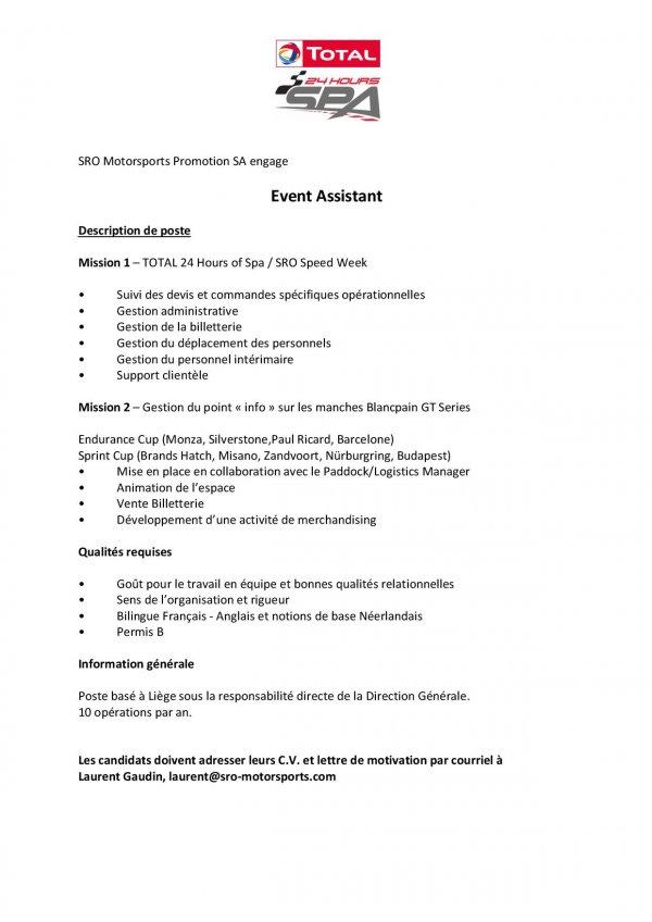 Nous sommes à la recherche d'un(e) EVENT ASSISTANT pour notre bureau de Liège